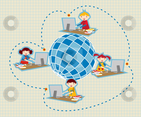 Global social school network communication stock photo, Children uses school social network to learn and teach class lessons. by Cienpies Design