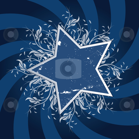 Star Flower design stock photo, Grunge Star Flower design with blue swirl by Vadym Nechyporenko