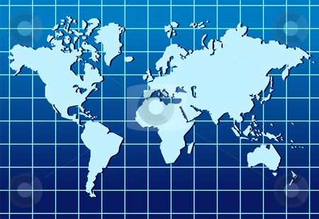World map lined abstract background stock photo, Abstract background with a map of the world.  by Cienpies Design