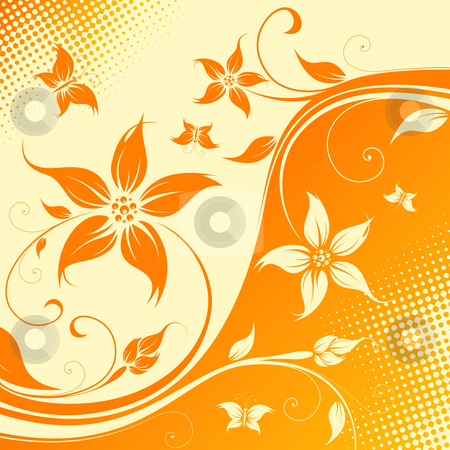 Vector flower background with butterfly stock photo, Abstract Floral Background with butterfly. Vector illustration. Abstract Pattern. by Vadym Nechyporenko