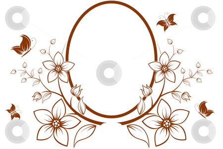Flower tree with frame stock photo, Vector flower frame with butterfly isolated on white by Vadym Nechyporenko