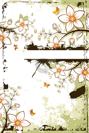 Grunge flower tree with copyspace stock photo, Grunge vector flower background with butterfly and copyspace by Vadym Nechyporenko