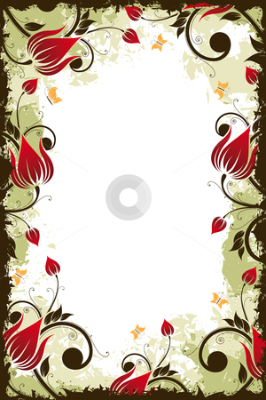 Grunge Flower frame stock photo, Abstract grunge Flower frame with Butterfly. Vector illustration by Vadym Nechyporenko