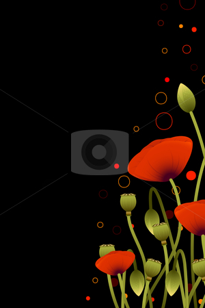 Floral background stock photo, Abstract Background with red poppy flowers for your design by Vadym Nechyporenko