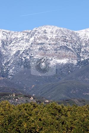 Topa Topa Snow stock photo, Topa Topa mountains with snow near Ojai, California by Henrik Lehnerer