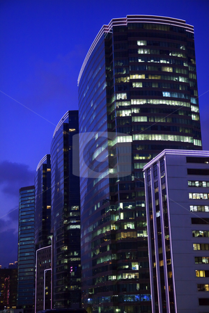 Kowloon Buildings Hong Kong at Night stock photo,  Kowloon Modern Buildings Hong Kong at Night  by William Perry