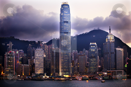 Hong Kong Harbor Evening from Kowloon stock photo, Hong Kong Harbor Evening Sunset from Kowloon by William Perry