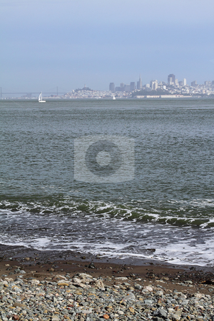 Seascape stock photo, View on San Francisco with a beach on foreground by Olena Pupirina