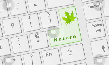 Computer keyboard with Nature key stock photo, Computer keyboard with special Nature key in green by marphotography