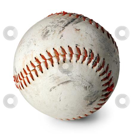 Old baseball isolated stock photo, Photo of an old baseball with scratches and worn areas, isolated on white background. by © Ron Sumners