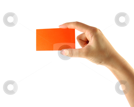 Woman's hand and orange card isolated  stock photo, Woman's hand and orange card isolated on white by nuchylee