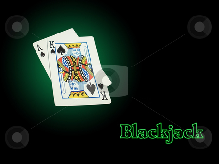 Neon Blackjack stock photo, Ace of Spades and King of Spades on a green background make a Blackjack spotlighted. The word Blackjack has a green neon effect applied. by dimfizz