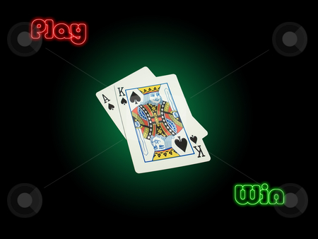 Play Win stock photo, Suited high cards Ace of Spades and King Of Spades on poker green background vignetted. Red play and green win with neon effect on a black background. Symbolizes competition, success, winning, luck... by dimfizz