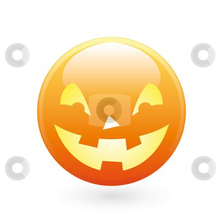 Halloween smile icon stock photo, Abstract halloween icon on white, smile pumpkin by Vadym Nechyporenko