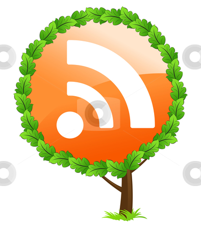 RSS tree icon stock photo, RSS tree icon isolated on white background by Vadym Nechyporenko