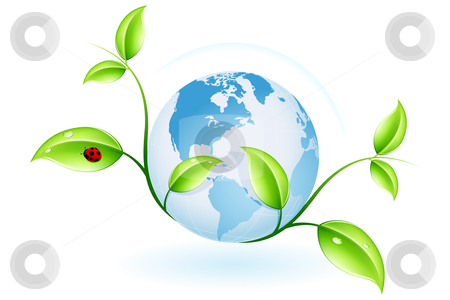 Green ecology stock photo, Green ecology concept with plant and globe for your design by Vadym Nechyporenko