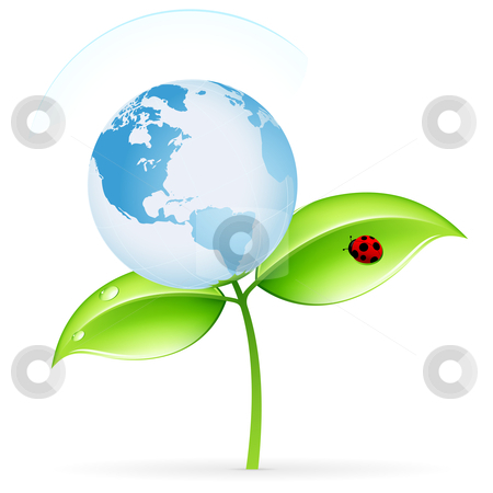 ECO icon stock photo, Green ecology icon with leaves and globe for your design by Vadym Nechyporenko