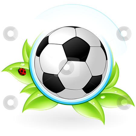 Green icon stock photo, Green icon with leaves and football for your design by Vadym Nechyporenko