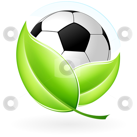 Icon with football stock photo, Green icon with leaves and football for your design by Vadym Nechyporenko