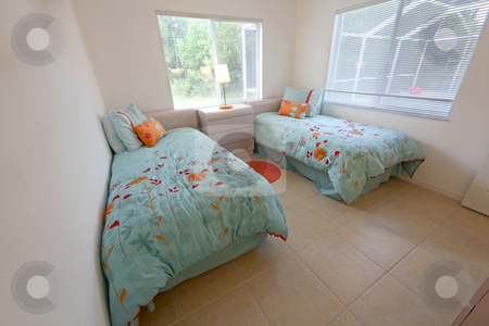 Twin Bedroom stock photo, A Twin Bedroom, Interior shot of a home by Lucy Clark