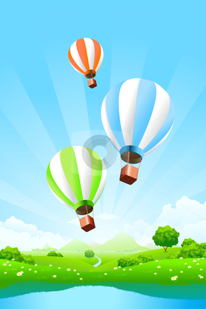 Green Landscape with Balloons stock photo, Green Landscape with Balloons clouds and lake by Vadym Nechyporenko