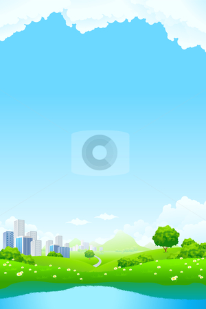 Green City Landscape stock photo, Green City Landscape with road lake mountain and flowers by Vadym Nechyporenko