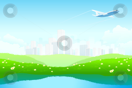 Green Landscape stock photo, Green Landscape with City, aircraft, lake and flowers by Vadym Nechyporenko
