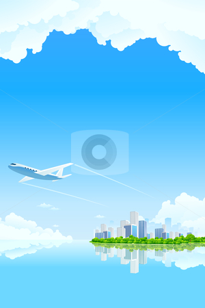Business City Landscape stock photo, Business City Landscape with clouds water and airplane by Vadym Nechyporenko