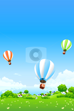 Green Landscape with Hot Air Balloons stock photo, Green Landscape with Hot Air Balloons clouds water and houses by Vadym Nechyporenko