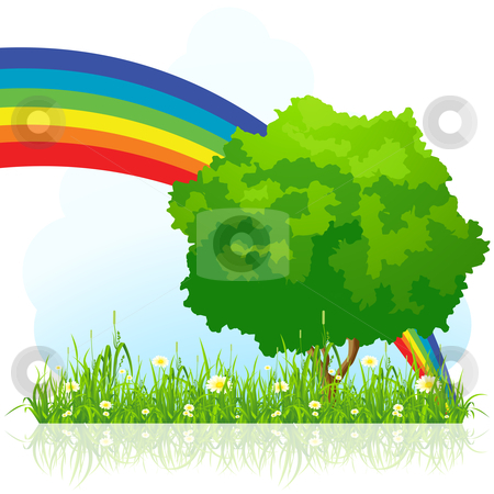 Isolated green tree with rainbow stock photo, Isolated green tree background with flowers rainbow and grass by Vadym Nechyporenko
