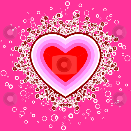 Abstract St. Valentine card with flowers and circles, vector ill stock photo, St. Valentine card with flowers and circles, vector illustration by Vadym Nechyporenko