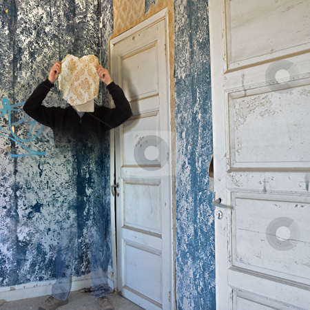 Fading memory stock photo, Ghostly figure fading into the peeling wallpaper wall of an abandoned house. by sirylok