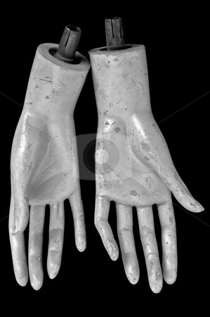 Plastic hands stock photo, Weathered hands of plastic mannequin doll. Black and white. by sirylok