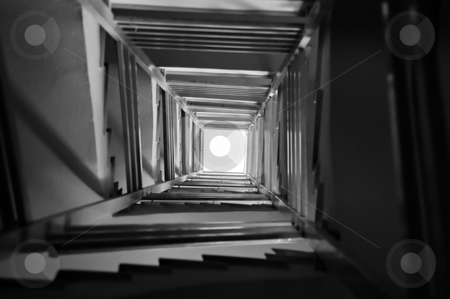 Stairs spiral stock photo, Staircase spiral perspective architecture background. Black and white. by sirylok