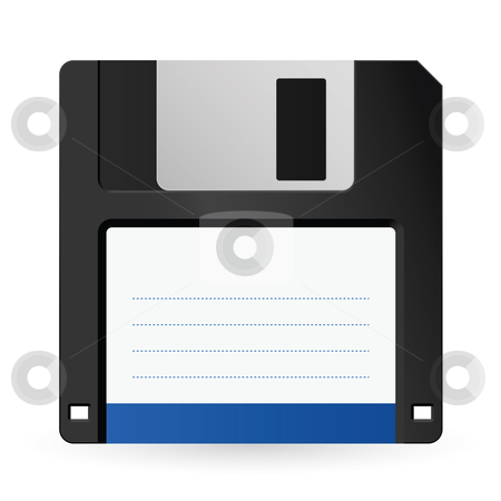 Magnetic floppy disc icon stock photo, Magnetic floppy disc icon for computer data storage  by dvarg