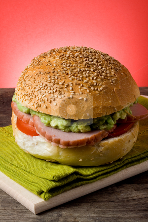 Sandwich stock photo, sandwich with turkey, tomato and avocado by maxg71