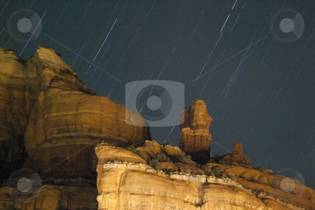 Boynton Red Rock Canyon Star Trails Sedona Arizona stock photo, Boynton Red Rock Canyon Star Trails Sedona Arizona by William Perry