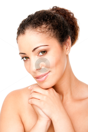 Clear skin beauty stock photo, Skincare concept - Beautiful young woman face with pimple acne free clear skin, isolated. by Paul Hakimata