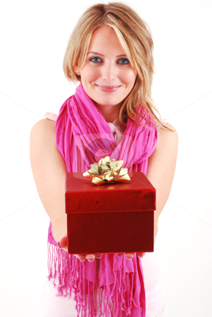 Young woman with a gift stock photo, Young happy woman with a gift by sutike