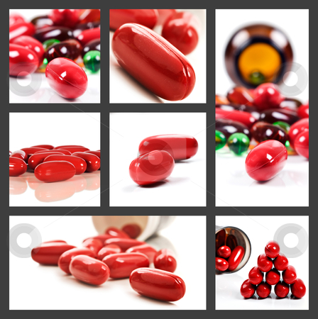 Collage of red pills on a white background stock photo, Collage of a variety of red pills on a white background by tish1