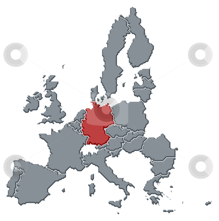 Map Of Europe With Germany Highlighted.Map Of The European Union Germany Highlighted Stock Photo
