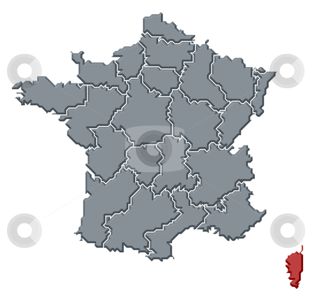 Map Of France And Corsica.Map Of France Corsica Highlighted Stock Photo
