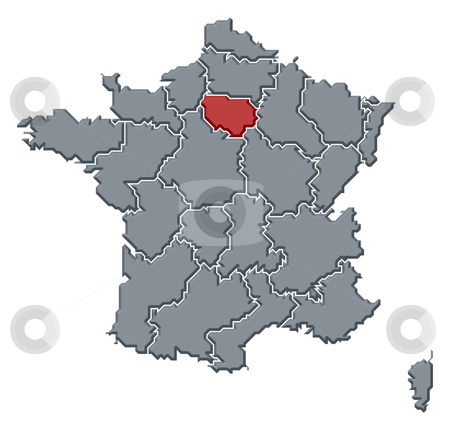 Map Of France With Paris Highlighted.Map Of France Ile De France Highlighted Stock Photo