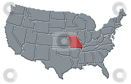 Map of the United States, Missouri highlighted stock photo