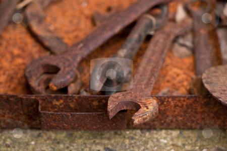 Rusty spanners stock photo, old rusty spanners by trgowanlock
