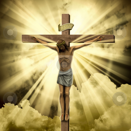 Jesus Christ stock photo, Jesus Christ on the Cross with Clouds by Binkski Art
