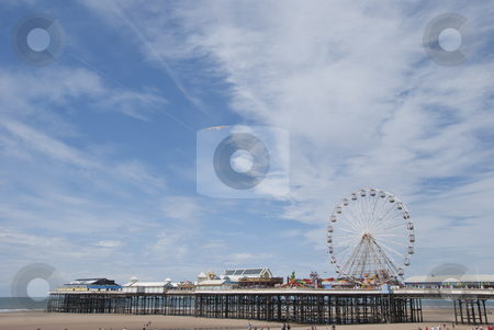 Central Pier3 stock photo, Central Pier Blackpool showing the Fairground Wheel under a summer sky by d40xboy