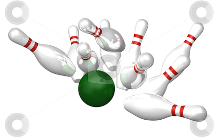 Bowling stock photo, bowling pins and ball on white background - 3d illustration by J?