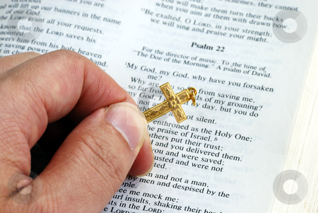 Holding a golden cross while reading the bible stock photo, Holding a golden cross while reading the bible by johnkwan