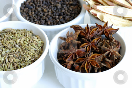 Various kinds of herbal spices such as anise stars stock photo, Various kinds of herbal spices such as anise stars by johnkwan